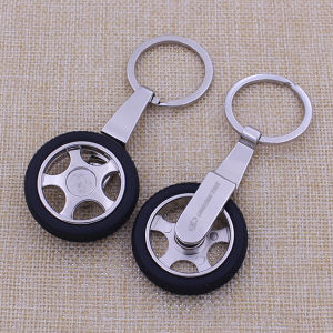 Promotion Gifts Custom Rotation Tire Keychain Metal Tire Shaped Keychain pictures & photos