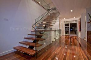 Glass Railing System Steel Beam Wood Staircase pictures & photos