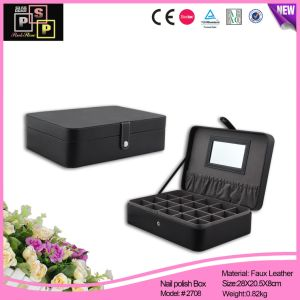 Classical Black Faux Leather Nail Polish Box for Shop pictures & photos
