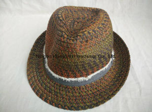 Mixed Color Sewn Braid Raw Edge Band Fringe Band Space Dye Fedora Straw Hat