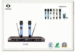 Sandy Wireless Microphone UHF for Conference System and Karaoke pictures & photos