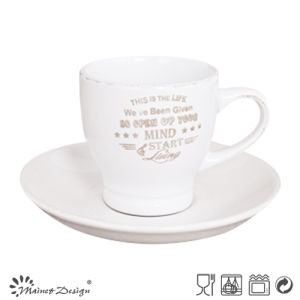 3oz Cup and Saucer with Brushed Rim and Silkscreen Words pictures & photos