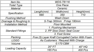 Weidansi Ceramic Wash Down S-Trap One Piece Toilet (WDS-T6116) pictures & photos