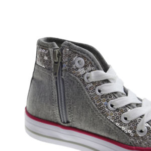 Hand Sewing Sequins High Top Vulcanized Shoes for Girls pictures & photos