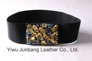 Ladies Fashion Belt Waistband PU Belt Rhienstone Elastic Belt -Jbe1629