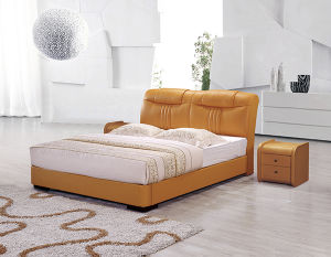 Factory Directly Supply Luxury Leather Chesterfeild Double Bed pictures & photos