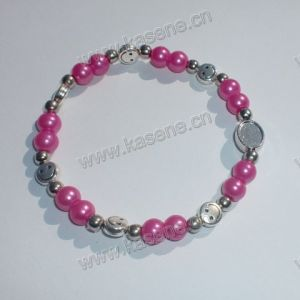 Wholesale Pearl Beads with Alloy Smiling Face Beads Fashion Bracelet