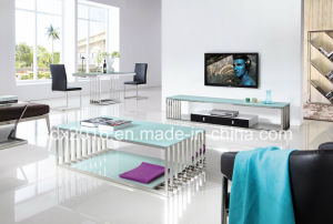 Stainless Steel Modern Italian Living Room Sofa Table / Circle Leg Glass Sofa Table pictures & photos
