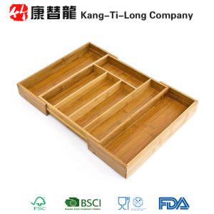 Bamboo Cutlery Tray Basket Drawer Organiser