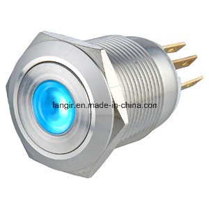 19mm DOT Illuminated Flat Head Momentary 1no1nc Stainless Steel Push Button Switch pictures & photos
