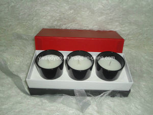 High End Gloss Black Glass Candle Set Luxury