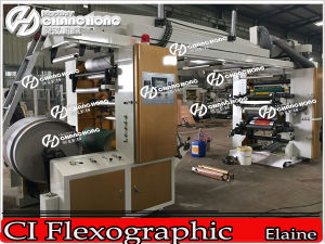 4 Color Economic Central Drum Flexographic Printing Machine pictures & photos