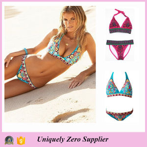 2016 Europe American Style Fashion Retro Ethnic Print Sexy Strappy Tankinis Swimsuit pictures & photos