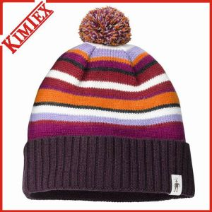 100% Acrylic Embroidery Promotion Cuffed Knitted Hat pictures & photos