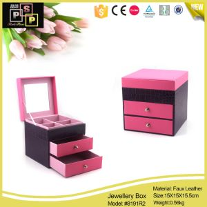 Pink and Purple Square Shape PU Jewelry Box pictures & photos