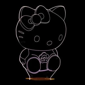 Visual 3D Hello Kitty Sculptured Acrylic Kids Room LED Night Light Home Decor Lighting