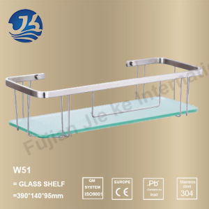 Rectangle Stainless Steel Bathroom Corner Glass Shelf (W51)