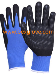 13 Gauge Nylon Liner, Nitrile Coating, Micro-Foam Finish, Dots on Palm Safety Gloves pictures & photos