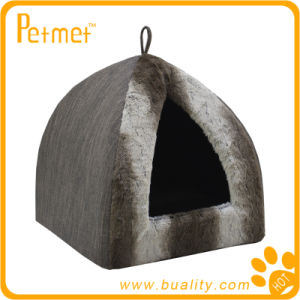 Faux Fur Pyramid Cat Bed with Removable Cushion (PT49160)