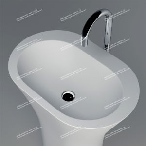 Modern Design Stone Resin Artificial Stone Freestanding Bathroom Mineral Basin (JZ2003)