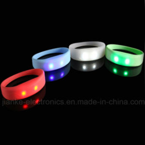 Hight Quality LED Blinking Silicone Bracelets with Logo Printing (4010) pictures & photos
