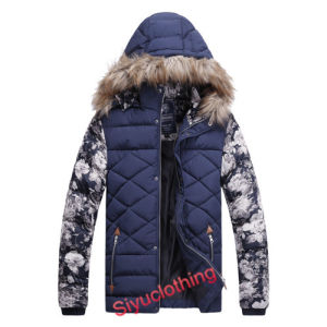 2015 Men Flower Pattern Padding Winter Maauhbenl Jackets with Hood (J-1607) pictures & photos