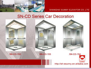 Elevator Cabin with Concave Golden Panel (SN-CD-152) pictures & photos