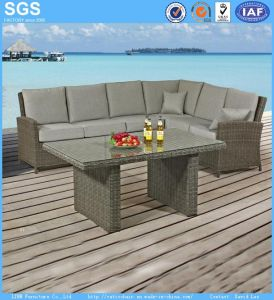 Garden Leisure Furniture Half Round Wicker Rattan Corner Sofa Set pictures & photos