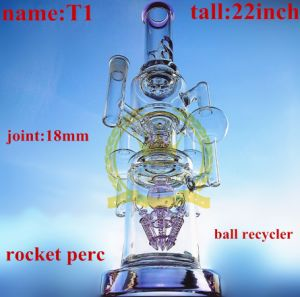 20inch Tall Wonderful Fuction with Three Perc Smoking Water Glass Pipe pictures & photos