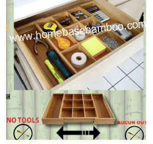 Bamboo in Drawer Storage Box Expandable Gadget Tray Organizer Storage Hb105 pictures & photos