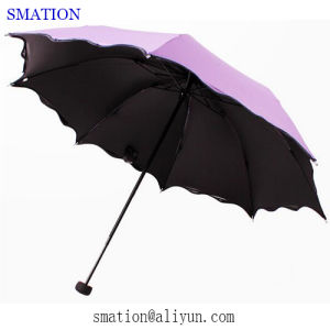 Reverse Folding Fold Fashion Promotion Lady Women Vinyl Sun Umbrella pictures & photos