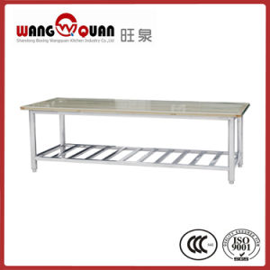 Commercial Kitchen Wooden Overshelf / Top Board Stainless Steel Table pictures & photos