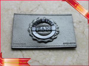 Leather Label with Metal Logo Clothing PU Leather Label pictures & photos