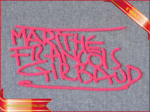 Pink Flock Label Iron on Transfer Clothing Label pictures & photos