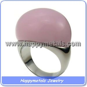 Pink Transparent Stone Rings in Stainless Steel (R8406-2)