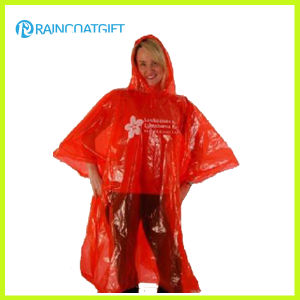 Disposable Red Adult Emergency PE Rain Poncho pictures & photos