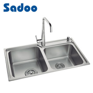 china 18 gauge ss kitchen sink double bowl double drain sd