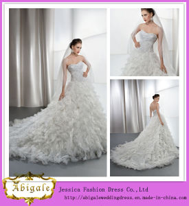 Brand Name New Fashion A-Line Beaded Top Ruffled Skirt Pakistani Fancy Wedding Dresses (WD24) pictures & photos