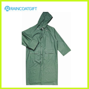 Green PVC Polyester PVC Long Safety Raincoat (Rpp-044) pictures & photos