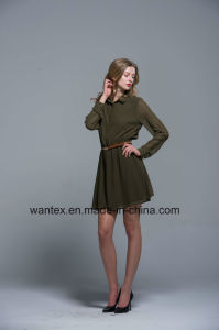 Ladies Dress 100% Polyester Spring Autumn Summer Fashion Includ Belt Green pictures & photos