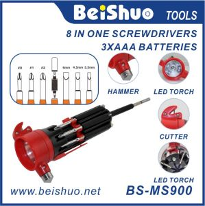 Multi Function Screwdriver with Cutter, Hammer, LED Light pictures & photos