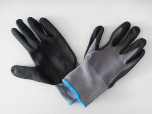 Nylon Spandex Shell Nitrile Coated Saftey Work Gloves (N2501) pictures & photos