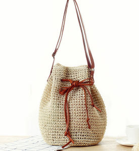 Paper Straw Long Shoulder Bags with Natural Color