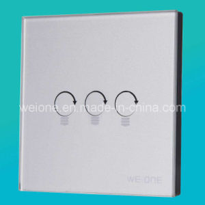 RF Radio Frequency Silver Tempered Glass 3 Channels Remote Control Switch (L11903-NDS)