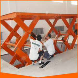 10m China Manual Scissor Lift Table Factory Warehouse pictures & photos