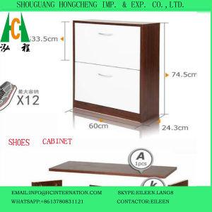 Teak Color Wooden Shoe Cabinet pictures & photos