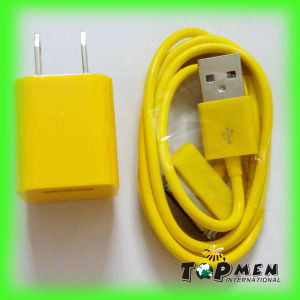 Colorful USB Wall Charger Sync Data Charging Cable for iPhone 3 3G 4 4s 4G iPod