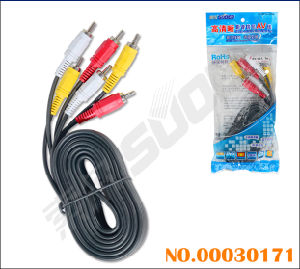 Factory Direct Sale 3m AV Cable Male to Male 3 RCA to 3 RCA AV Cable (AV-36A-3m-white-blue Packing) pictures & photos