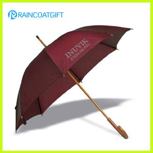 Custom Brand Straight Umbrella with Wooden Handle pictures & photos