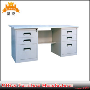 Customized Modern Metal Furniture Glossy White Management Desk Steel Executive Office Table with Double Pedestal pictures & photos